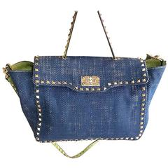 Valentino Denim Blue Rockstud Handbag