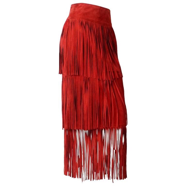 1980s Moschino Floor Length Red Suede Fringe Skirt