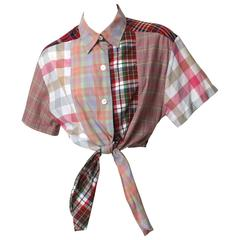 Todd Oldham Plaid Patchwork Tie-up Top
