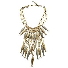 1970s Gold and Silver Fish Bib Necklace with earring set