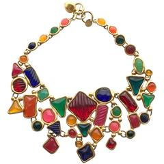 1980s Anne Klein multi color Bib Necklace