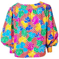 Yves Saint Laurent Tropical Print Smock Blouse