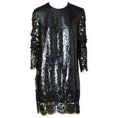 Geoffrey Beene Sequined Shift With Lace Detail