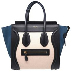 Celine Lugguage Black/ Beige Calfskin Leather Handbag