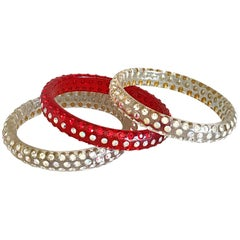 Set of Three 1960s Red and Clear Rhinestone Encrusted Vintage Lucite 60s Bangles