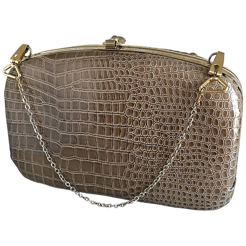 1940s Italian Taupe Alligator Croc Embossed Vintage 40s Leather Handbag Purse