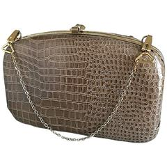 1940s Italian Taupe Alligator Croc Embossed Vintage 40s Leather Handbag Purse