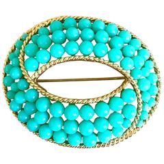 Trifari 1960s Turquoise Blue + Gold Oval 60s Signed Vintage Ball Brooch Pin