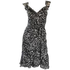 1990s Liancarlo Couture Size 10 Saks 5th Ave Black and White Vintage Silk Dress