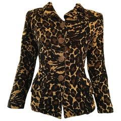 Iconic Yves Saint Laurent 1990s Leopard Print Chenille Vintage 90s Jacket Blazer