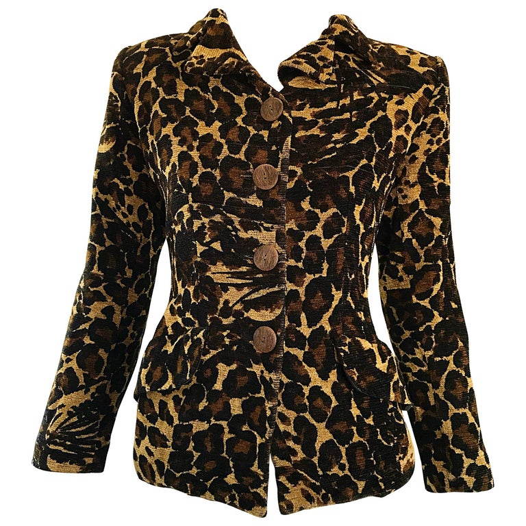 Iconic Yves Saint Laurent 1990s Leopard Print Chenille Vintage 90s Jacket Blazer For Sale
