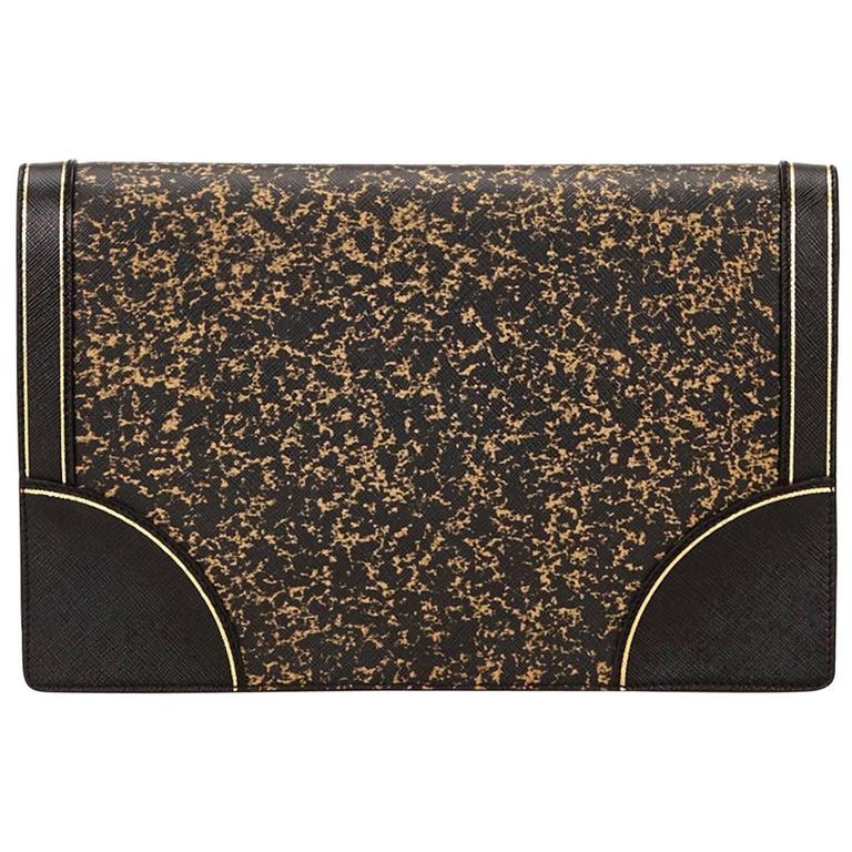 Prada Black Leather Clutch 1