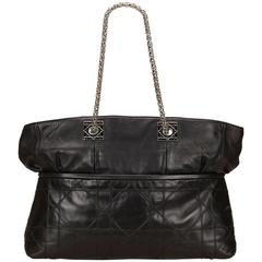 Dior Black Leather Canage Tote Bag