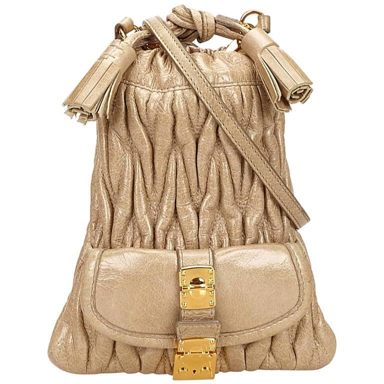 Miu Miu Brown Leather Gathered Shoulder Bag 1