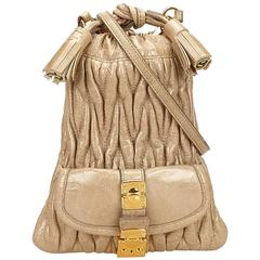 Miu Miu Brown Leather Gathered Shoulder Bag