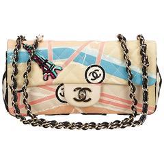 Chanel Pink Printed Canvas Flap Shoulder Bag