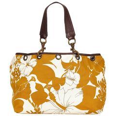 Miu Miu Yellow Floral Canvas Handbag