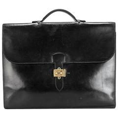 Hermes Black Calf Leather Briefcase Sac a Depeches