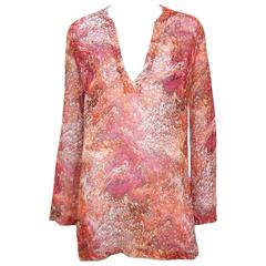 Contemporary Celine Silk Tunic Top With Marbleized Print