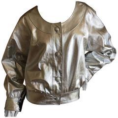 Yves Saint Laurent Rive Gauche Mod 1970's Silver Leather Blouson Bomber Jacket