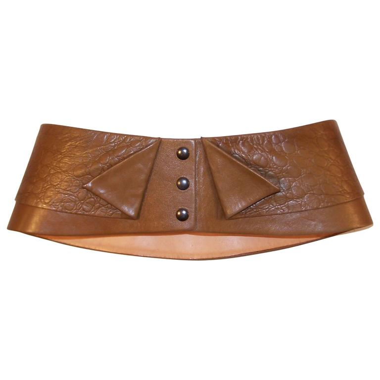 d0b9f02664b French 1980 s Lasso Wide Leather Corset Belt for Neiman Marcus For Sale