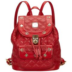 MCM Red Studded Leather Backpack