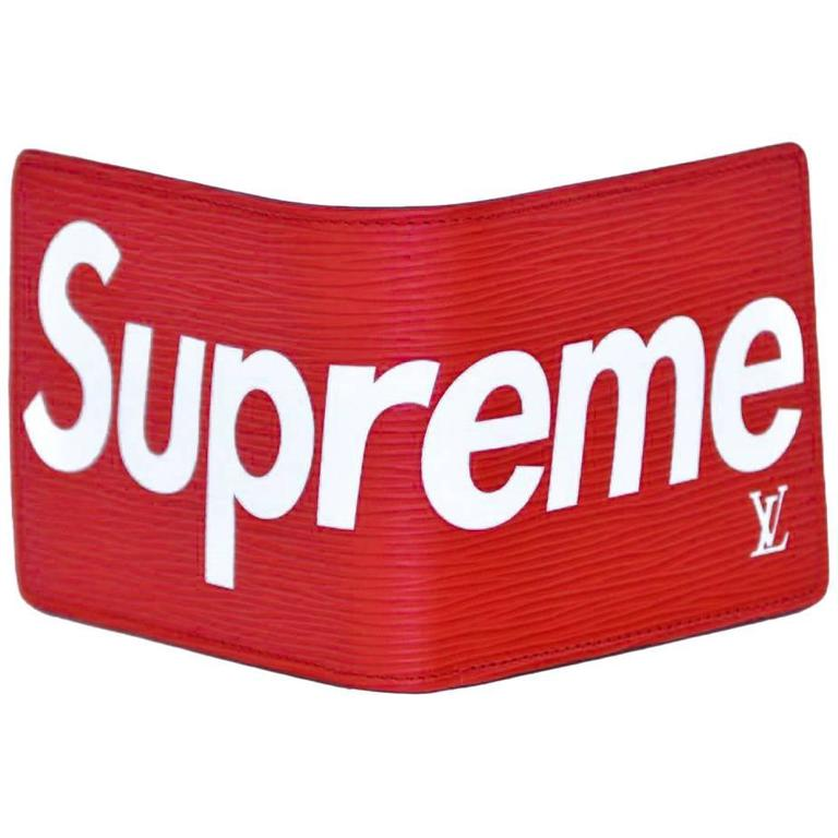 Louis Vuitton X Supreme Slender Red Epi Wallet New For