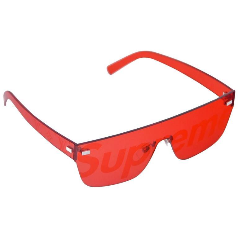 ea2849ce3a0 Louis Vuitton X Supreme Red Logo City Mask Sunglasses NEW For Sale ...