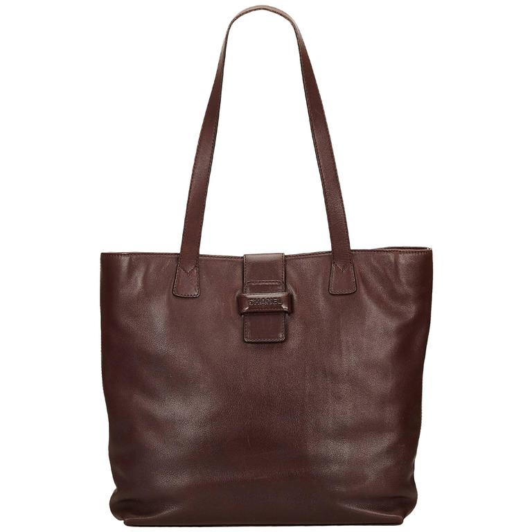 2852f30d428081 Chanel Brown Lambskin Leather Tote Bag For Sale at 1stdibs