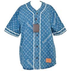 Supreme x Louis Vuitton LV All Over Monogram Denim Baseball Jersey Sz Medium