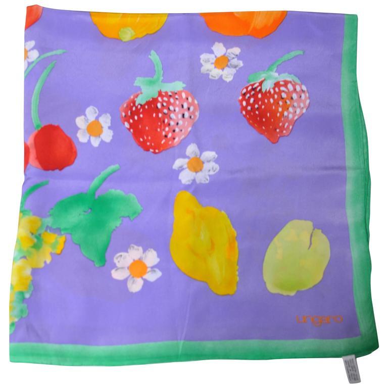 Ungaro Cornucopia of Fruit and Flowers Silk Scarf