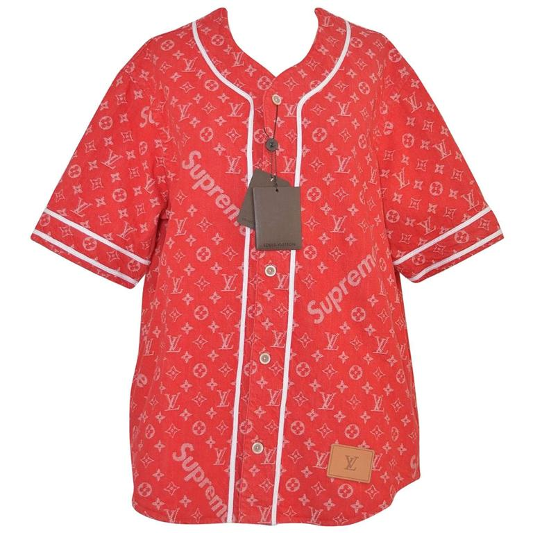 5e05217f6b6c Supreme x Louis Vuitton All Over Monogram Denim Baseball Jersey Red Sz  Medium For Sale