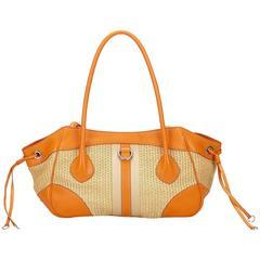 Prada Brown Straw Tote Bag