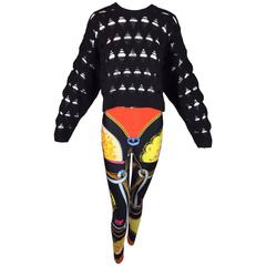 S/S 1991 & 1993 Gianni Versace Atelier Print Leggings & Cropped Baggy Sweater