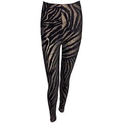 C. 1992 Gianni Versace Black Velvet & Gold Glitter Zebra Leggings