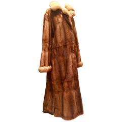 Contemporary Louis Feraud Paris Fine Whiskey Dyed Mink Swing Duster Fur Coat