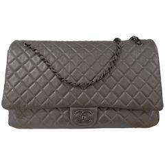 Chanel Silver Maxi Extra Large Shoulder Bag