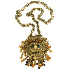 Jeweled Lion Head Pendant Necklace