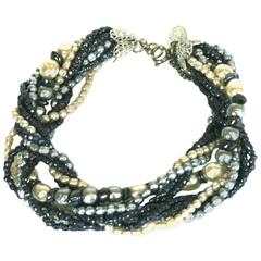 Miriam Haskell Grey and Cream Pearl Bracelet