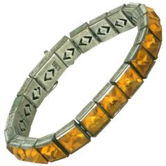 Art Deco Sterling Citrine Straight Line Bracelet