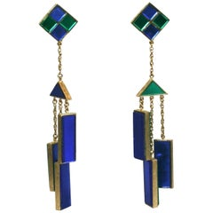 Trifari Mirror Tile Mod Mobile Earrings