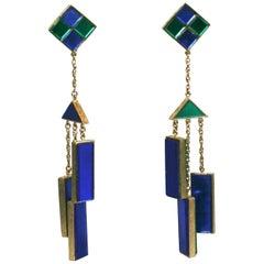 Trifari Mirror Tile Mod Mobile Earrings
