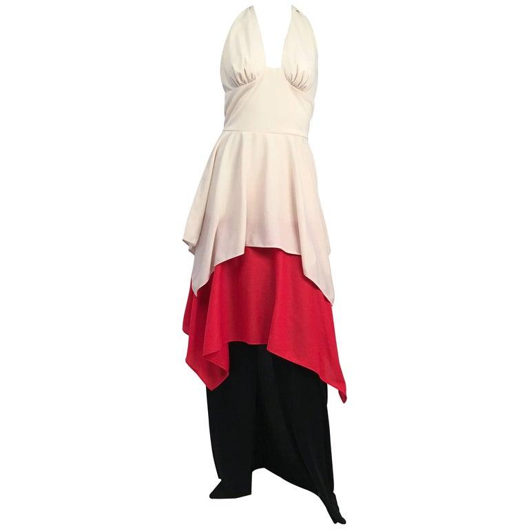 70s Red, White, Black Halter Maxi Dress For Sale