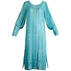Vintage Teal Blue Silk Sequin + Beaded Art Deco/ Flapper Dress