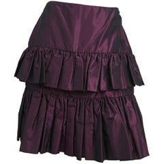 80s Galanos Couture Purple Taffeta Tiered Skirt