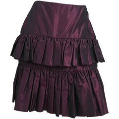 80s Galanos Couture Purple Taffeta Tiered Skirt