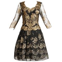 1980s Zandra Rhodes Vintage Metallic Gold Lace + Silk Hand Painted Dress