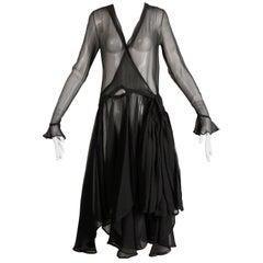 1930s Vintage Black Sheer Silk Asymmetric Flapper Dress
