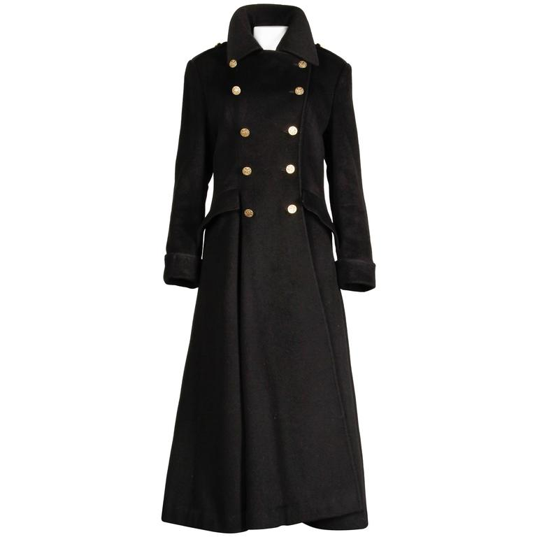 Bill Blass Vintage Black Wool Military Maxi Coat at 1stdibs