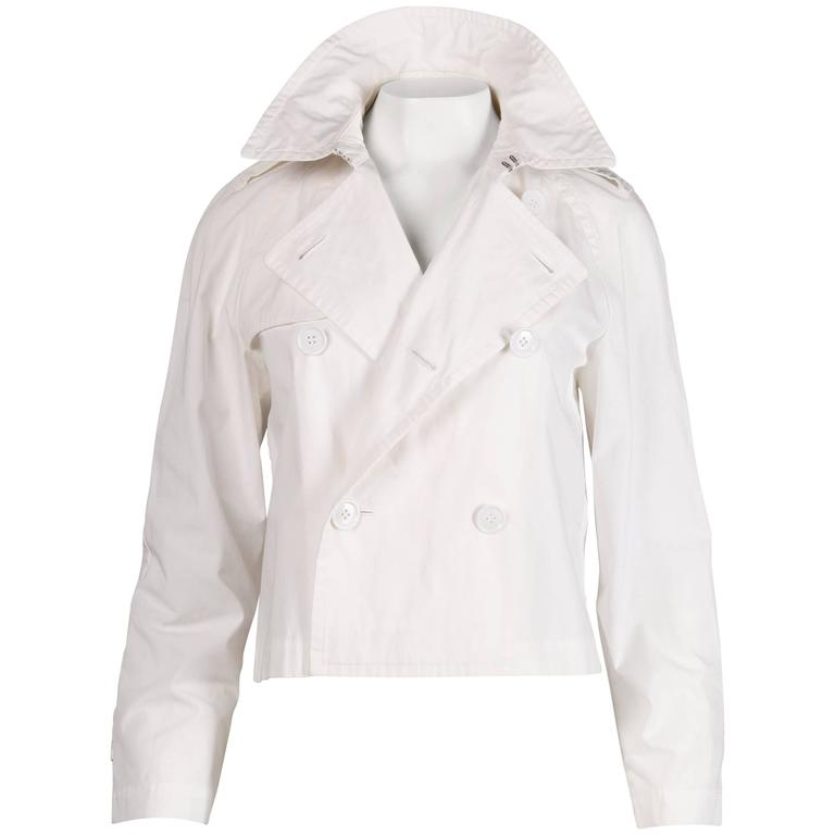 ad 1998 comme des garcons vintage white cotton jacket for sale at 1stdibs. Black Bedroom Furniture Sets. Home Design Ideas